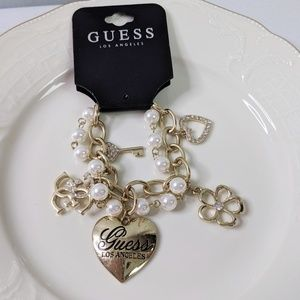 Guess Heart Charm Bracelet Gold Tone New
